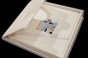 Wedding album box open
