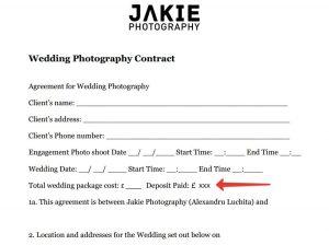 Wedding PhotographyCcontract